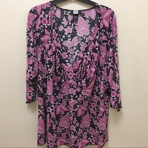 Studio 1940 30/32 Black & Pink 3/4 Sleeve Blouse
